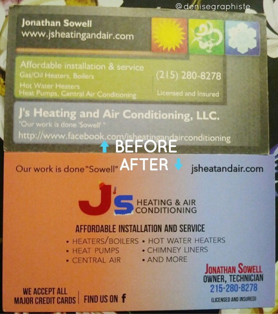 J's Business Cards - Before and After
